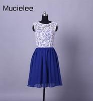 Sophoeniya Real Photo White And Blue Short Bridesmaid Dresses Party Dress Vintage Elegant Formal Gown