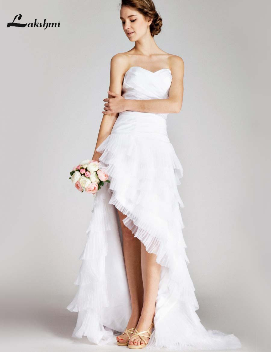 Garden Wedding Dresses Short Front Long Back Organza High Low Bridal