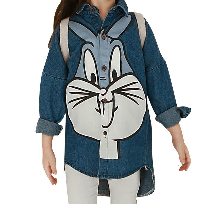 2016 Autumn New Baby Girls Denim Shirt Children Cartoon Cute Rabbit Blouse Wild Long-sleeved Denim Camisa Fashion Chemise Enfant