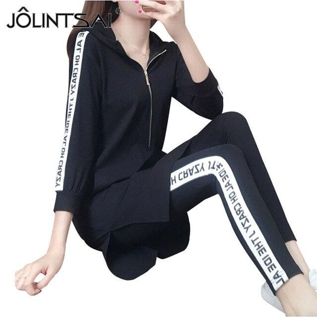 2017 Spring Women Half Sleeve Hooded Sportswear Letter Printed Zipper Tracksuits Long Hoodies + Pants Casual Black Sporting Sets