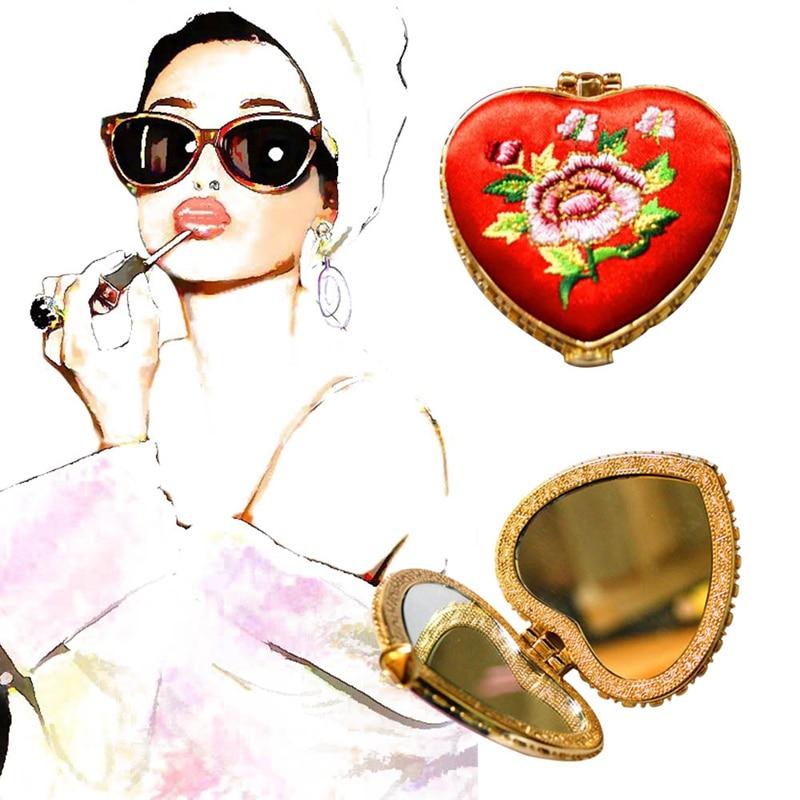 Schönheit & Gesundheit Tragbaren Herzförmige Blume Stricken Tasche Make-up Spiegel Mit Schmetterling Schnalle Schminkspiegel