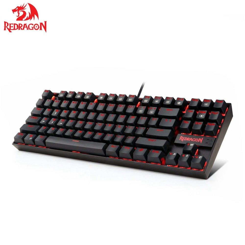 Redragon K552 KUMARA clavier de jeu mécanique 87 touches clavier Gamer rétro-éclairé rouge