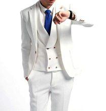 Fashionable One Button Ivory Groom Tuxedos Groomsmen Men's Wedding Prom Suits Bridegroom (Jacket+Pants+Vest+Tie) K:781
