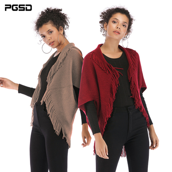PGSD Autumn winter Casual solid fringed Women sweater cardigan Loose Bat sleeve Knitted Lady shawl jacket Blouse female clothes pgsd autumn winter women clothes simple solid lace stitching short hoodie bat sleeve loose sweatshirt pullover casual top female