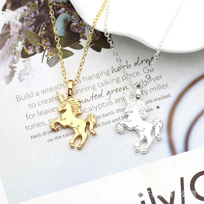 HTB1eVKBXrj1gK0jSZFOq6A7GpXaa - Cute Unicorn Necklace Fashion Cartoon Horse Jewelry Accessories For Girls Children Kids Women Party Animal Pendant Bracelet Set
