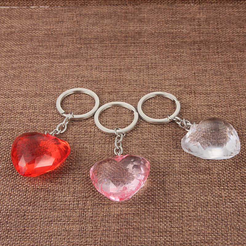 SUKI Pvc Canvas Cute Heart Keychain Bag Charm Woman Men Kids Key Ring Key Holder Gift Acrylic Love Key Chain Funny Gifts