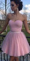 Pink Homecoming Dresses Short Junior Dress Tulle Beaded Backless Graduation Dresses