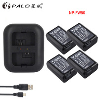 4pcs 2000mAh NP FW50 NP FW50 Camera Battery LED USB Dual Charger For Sony Alpha A6500