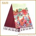 Китайский стиль женщины шелковый шарф новая картина маслом шелковые шарфы полноценно бренд дизайнер длинный шелковый шарф женщин 50*190 см