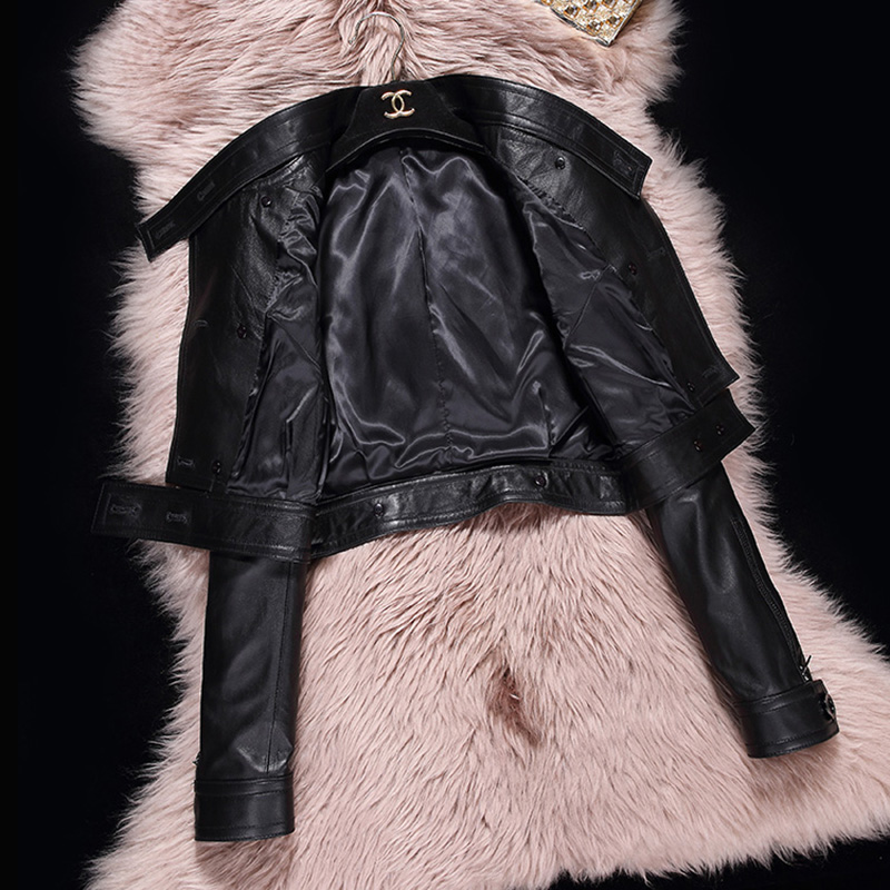 Printemps Cuir Femmes Féminins Noir Mince De Veste Bouton Moto Corée Véritable Court Mouton Conception Peau En Vêtements 6qIWtIRr