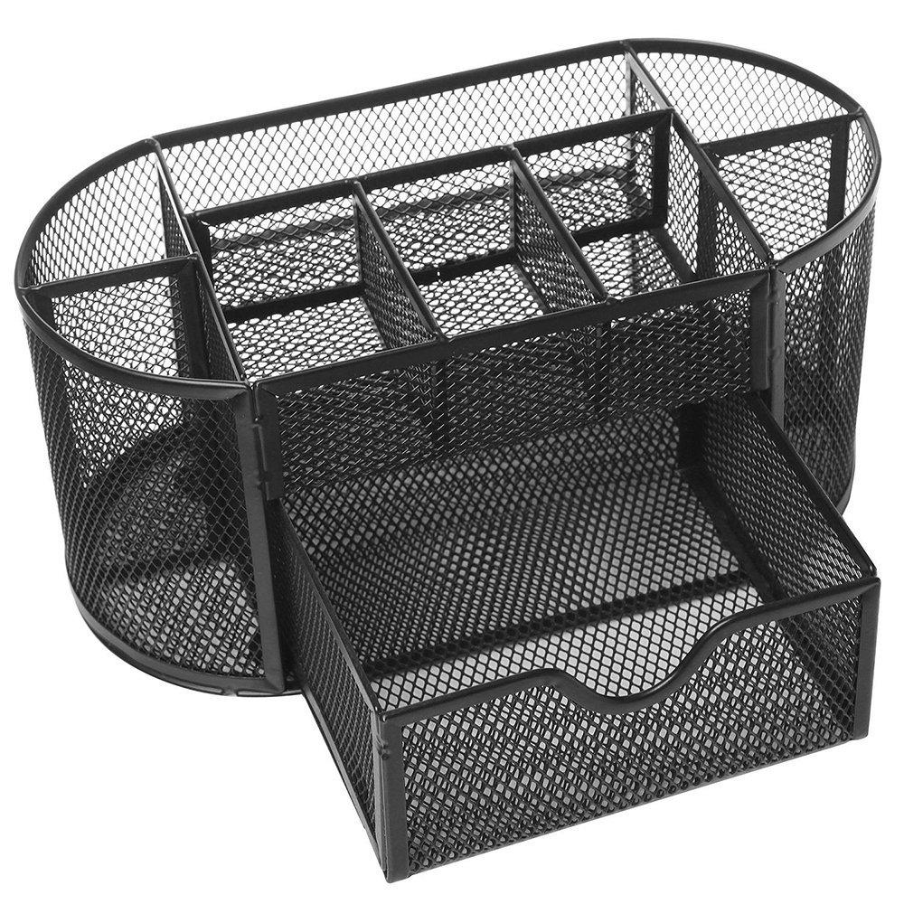 Affordable Multifunctional 9 Components Table Metal Grid Pen Holder Desktop Storage Box (Black)