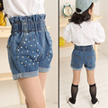 Girls jeans shorts high waist beading denim short pants kids pants for girls roupas infantis over-turn hem trousers Children