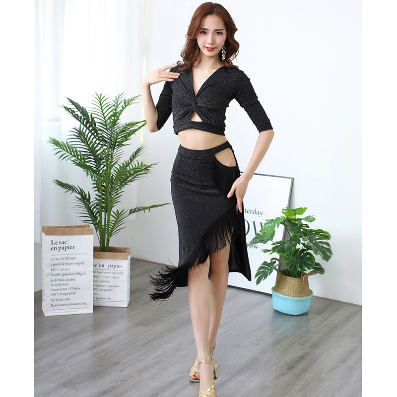New Stage Performance Competition Cllothes Women Dance Dress Half Sleeves Samba Costume Set 2 Pieces Top And Skirt