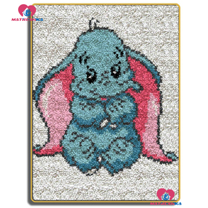 Dropshipping Kits de costura con aguja de lengüeta para alfombra tapiz DIY costura elefante de dibujos animados alfombra de ganchillo hilo cojín Mat diy tapiz bordado