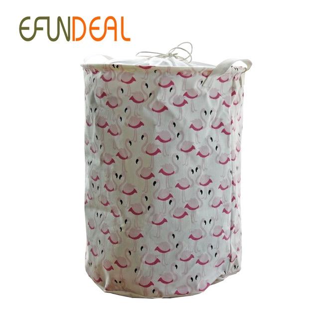 Wäschekorb Vintage baumwolle leinen rosa flamingo mit griff crown leinen zakka vintage