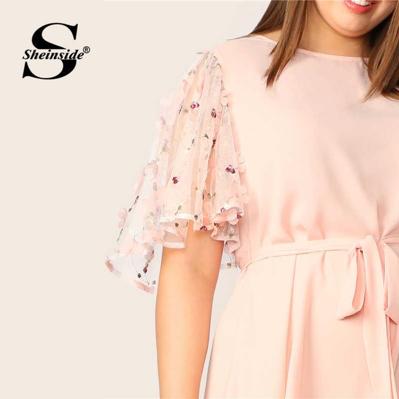 Sheinside плюс размер розовый аппликация контрастная сетка рукав платье для женщин 2019 летние платья с коротким рукавом женские платья с поясом ТРАПЕЦИЕВИДНОЕ ПЛАТЬЕ