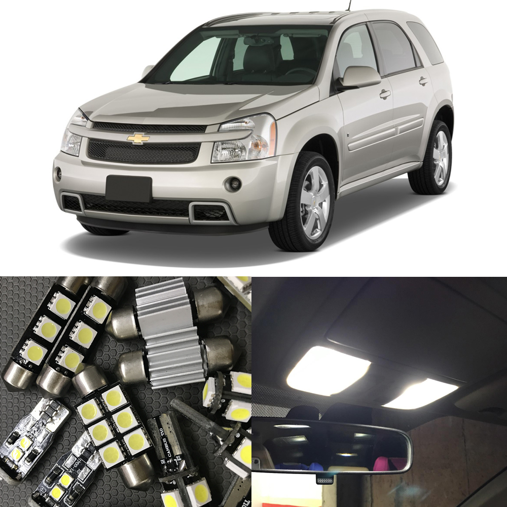11PCS Auto Car LED Light Bulbs Interior Kit For <font><b>2005</b></font>-<font><b>2009</b></font> <font><b>Chevy</b></font> <font><b>Chevrolet</b></font> <font><b>Equinox</b></font> Led Map Dome Trunk License Plate light White
