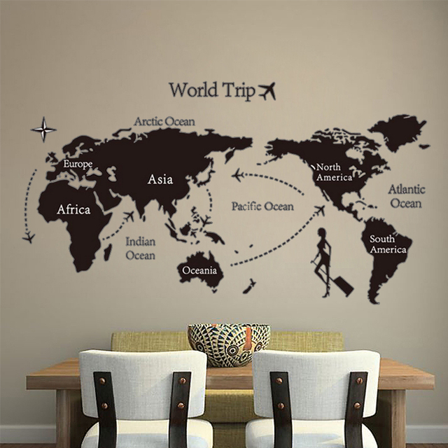 Poster global world trip map poster map wall sticker decals wall poster global world trip map poster map wall sticker decals wall art posters vintage retro paper gumiabroncs Choice Image