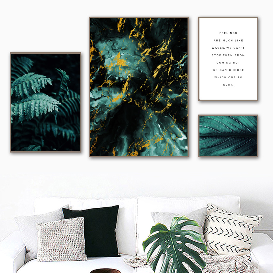 Green Fern Leaf Marble Cloud Quotes Nordic Posters And Prints Wall Art Canvas Painting Plant Wall Pictures For Living Room Decor