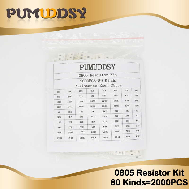 2000pcs 0805 SMD Resistor Kit Assorted Kit 1ohm-1M Ohm 5% 80values X 25pcs=2000pcs Sample Kit