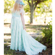 Holy Mint Lace Flower Girl Dresses A Line Scoop First Communion Dress Beaded Sweep Train Lovely Bridal Girl Gowns Vestidos de