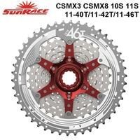 SunRace CSMX3 CSMX8 MTB Bike Cassette 10S 11S speed 11 40T / 11 42T / 11 46T , Black / Silver Bicycle Freewheel