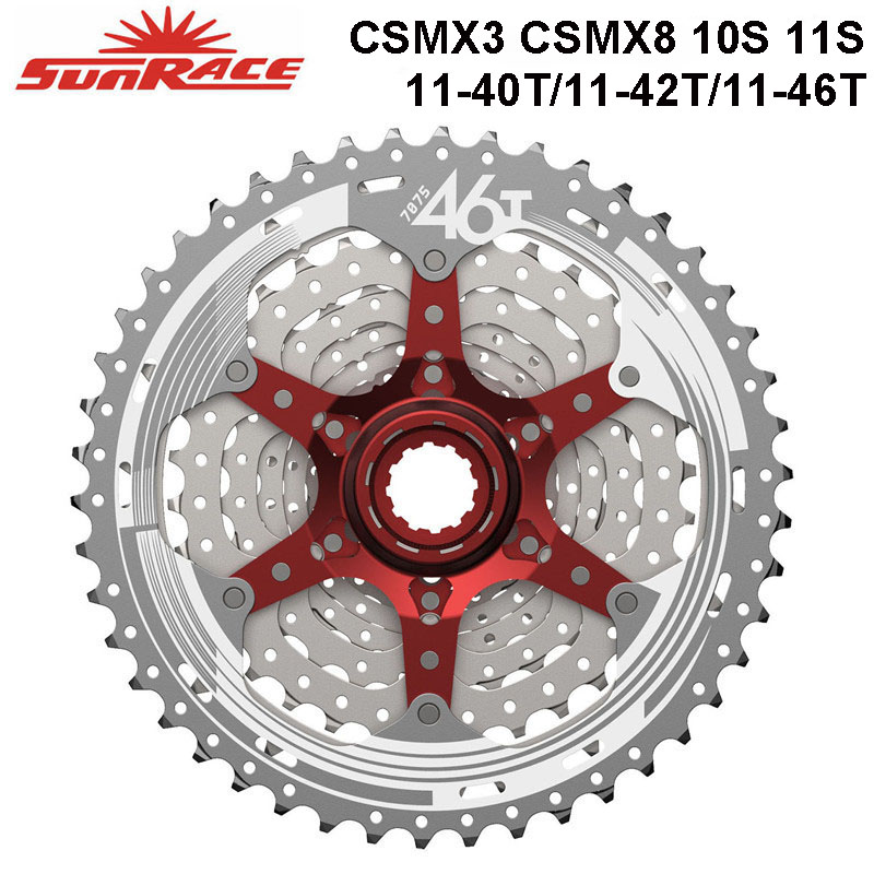SunRace CSMX3 CSMX8 MTB Bike <font><b>Cassette</b></font> 10S 11S speed - <font><b>11</b></font>-40T / <font><b>11</b></font>-42T / <font><b>11</b></font>-46T , Black / Silver Bicycle Freewheel for SLX image