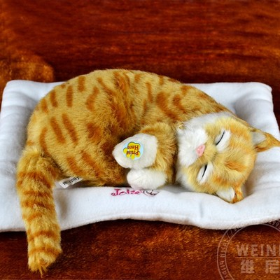 yellow cat about 30cm breathing sound cat soft toy model,with mat ,polyethylene & furs resin handicraft, home decoration h992
