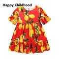 2016 Limão Impressão Meninas Vestido de Verão 1 pc red A Linha meninas roupas 3-13Y crianças manga curta vestidos para meninas