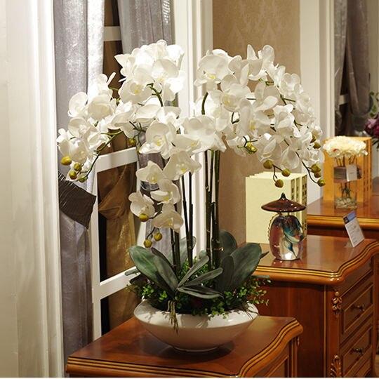 Kunstmatige big size PU real touch hand gevoel orchidee bloemstuk bonsai bloem alleen geen vaas luxious bloem boeket-in Kunstmatige & Gedroogde Bloemen van Huis & Tuin op  Groep 1