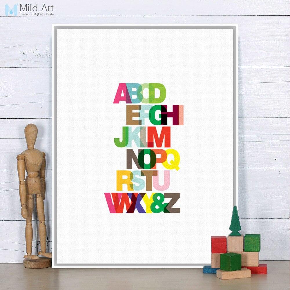 3 16 45 De Réduction Moderne Minimaliste Arc En Ciel Anglais Alphabet Typographie A4 Grand Art Imprimer Affiche Mur Photo Toile Peinture Enfants