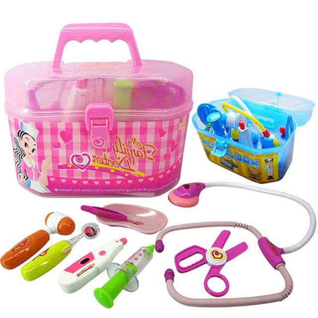 382228596269f Baby Kids Funny Family Doctor Play sets Simulation Medicine Box Pretend Play  Doctor Toys Stethoscope Injections Children gifts