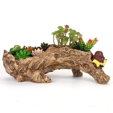 Artificial Driftwood Planter Resin Flower Pot Sculpture Succulent Air Plants RusticDeclined Trunk Stump for Decoration No Plants