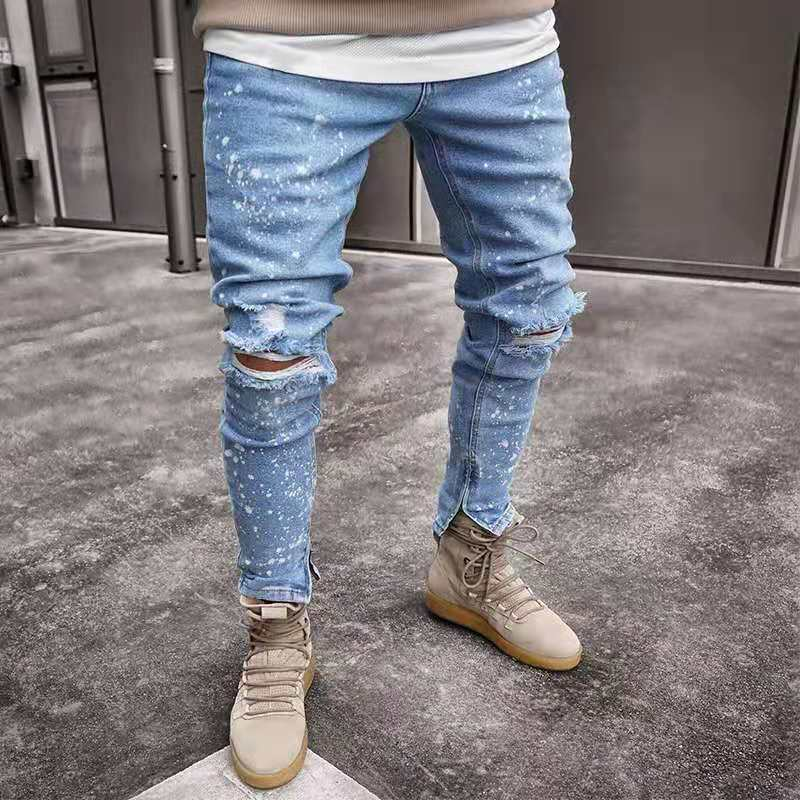 Men   Jeans   Stylish Ripped   Jeans   Pants Biker Skinny Slim Straight Frayed Denim Trousers 2019 New Fashion Skinny   Jeans   Men Clothes