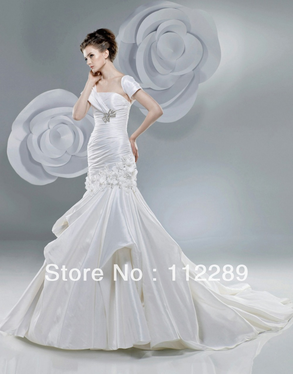 Elegant Off White Short Sleeve Mermaid Chapel Train Japanese Bridal ...