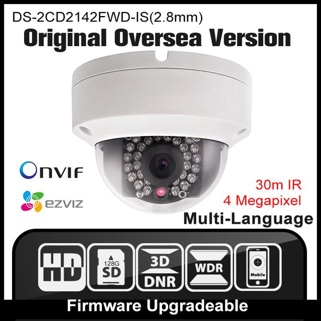Hikvision ds-2cd2142fwd-is (2.8mm) original inglés versión ip cámara de $ number mp cámara de seguridad poe ipc h265 cctv cámara onvif p2p hik