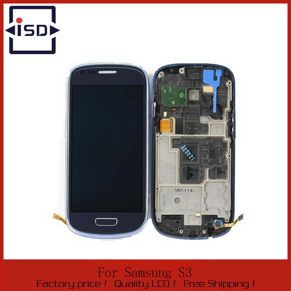 Blue For Samsung Galaxy S3 Mini I8190 LCD touch screen display with digitizer + Bezel Frame + Free Tools,Free shipping !!! lcd screen assembly for apple iphone 4 4g lcd display touch screen digitizer pantalla with frame bezel replacement black white
