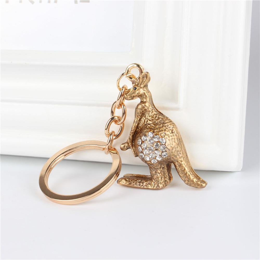 Kangaroo Pendant Charm Rhinestone Crystal Purse Bag Keyring Key Chain Accessories Wedding Party Lover Friend Gift