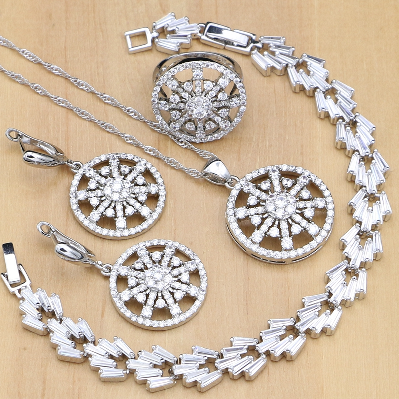925 Silver Jewelry Sets White Crystal Stone Beads Decorations For Women 4PCS 925 Sterling Silver Wedding jewellry Necklace Set