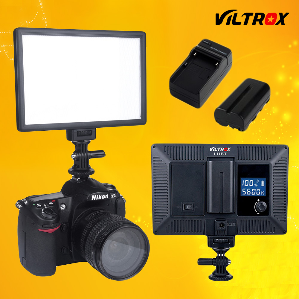 Viltrox L116T LCD displejs Bi-Color & Dimmable Slim DSLR video LED gaisma + akumulators + lādētājs Canon Nikon kameras DV videokamerai