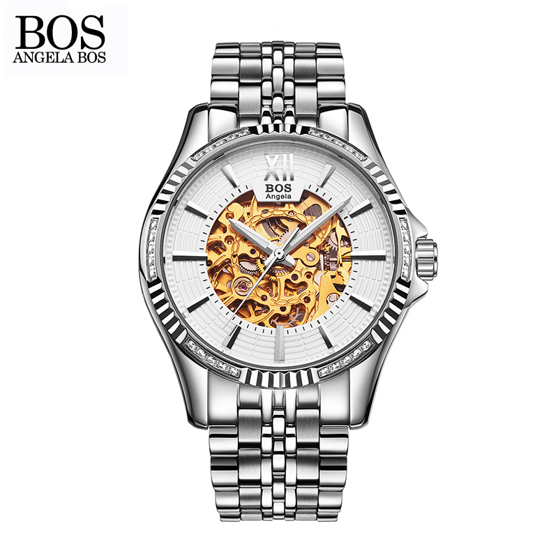 ANGELA BOS Business Skeleton Automatic Watch Mens Mechanical Waterproof Stainless Steel Watches Men Luxury Brand Wrist Watch Man angela bos cool mens watches top brand luxury quartz watch stainless steel date rhinestones waterproof wrist watches for men