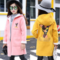 Girls Long Section Wool Coat 2016 Autumn And Winter Baby Girl Cotton Cartoon Deer Pattern Design Fleece Warm Princess Jacket