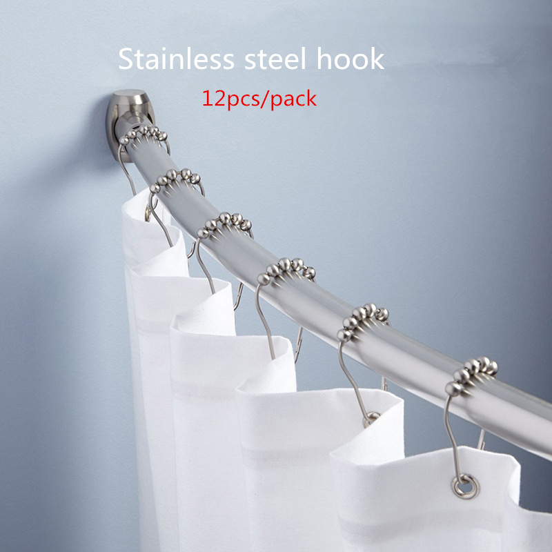 12pcs Pack Shower Curtain Hooks Stainless Steel 5 Roller Ball Curtains Rings Free Shipping