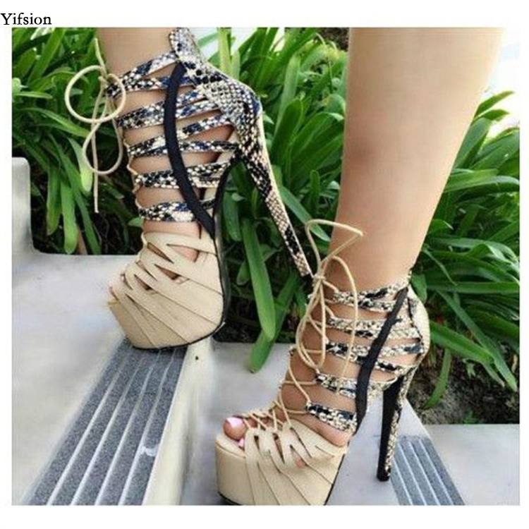 Olomm Women Platform Sandals Sexy Snakeskin Stiletto High Heels Sandals Peep Toe White Apricot Shoes Women