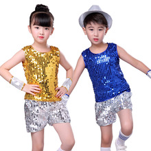 Children's jazz dance Latin dance sequins boys and girls street dance modern dance stage performance costume цена и фото