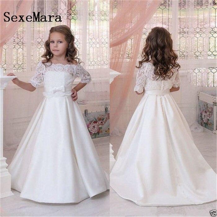 Ivory white satin girls dresses 2-16 years off the shoulder infantil para menina Christmas birthday dress girls communion dress