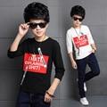El más nuevo Diseño De Moda Camiseta para Niños Tops de Algodón Camisa de Los Niños Carta Tees Ropa Casual Camiseta de Manga Larga Envío gratis