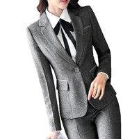 Fmasuth Women Office Trousers Suit Winter Jacket Blazer Long Trousers White Shirt 3 Pcs Business Pant