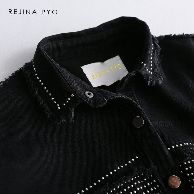 REJINAPYO Women Black High Quality Loose Denim Jacket Coat Sequined Tassels Streetwear All-match Mental Covered Button Outerwear 9