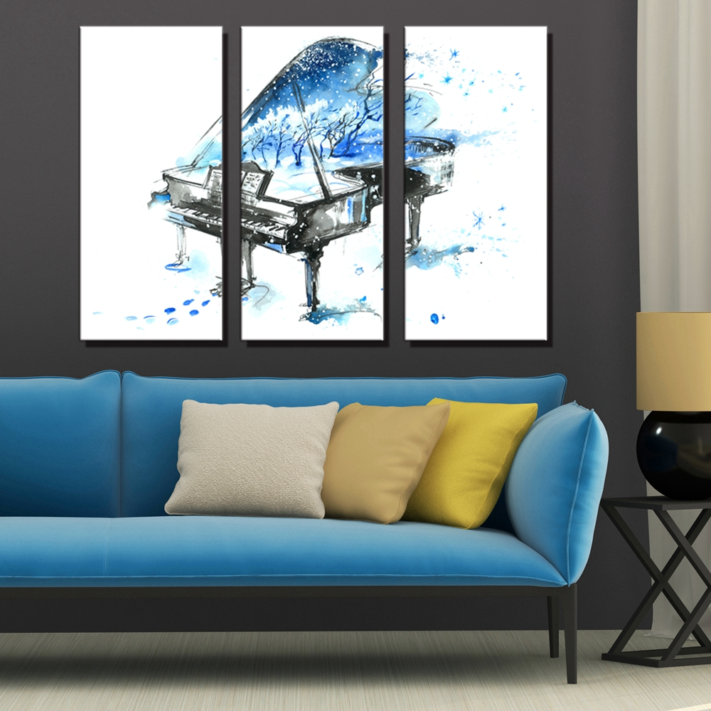 Watercolor Blue Piano in the Snow Elegance Artwork Wall Art HD Print Canvas Painting for Office Bedroom Home Wall Decor Dropship in Painting Calligraphy from Home Garden